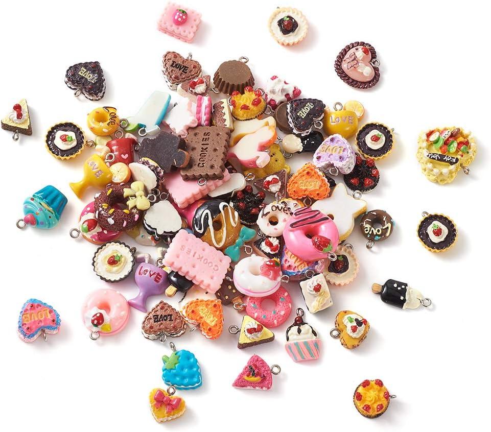 100pcs Food Theme Resin Charm Pendants Random Mixed Cake Candy Donut Cookies Ice-Cream Dessert Dangle Charm Keychain for DIY Necklace Bracelet Jewelry Making