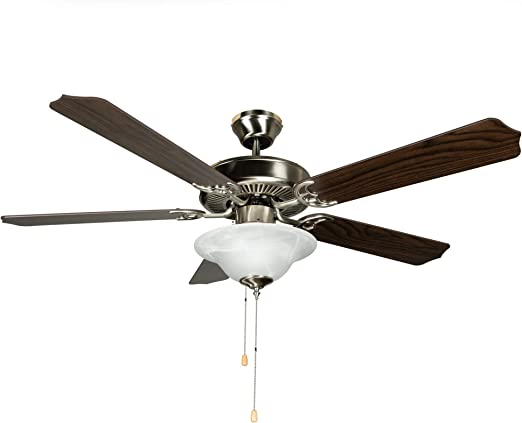 Hyperikon 52 Inch Ceiling Fan, 60W, Remote Control and Pull Chain, Brushed Nickel Body, 5 Blades, Frosted Dome Light, Walnut