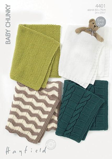 Amazon Hayfield Baby Blankets Knitting Pattern 4401 Chunky