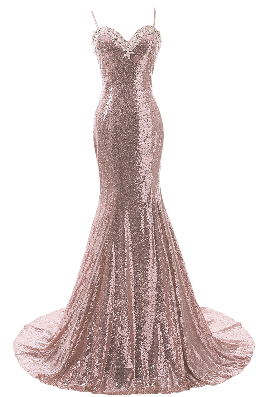 28afedc1f47b ... Women s Straps Mermaid Prom Dress Open Back Sequins Bridesmaid Dresses  Rose Gold US 2.   