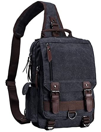 e57b60f6b7 Mygreen Canvas Leather Crossbody Messenger Bag One Strap Sling Travel  Hiking Chest Bag