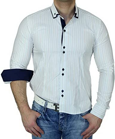 Zioss Slim Fit Doble Cuello Contraste Camisa para Hombre Manga Larga Color Blanco – S – XXL 1121: Amazon.es: Ropa y accesorios