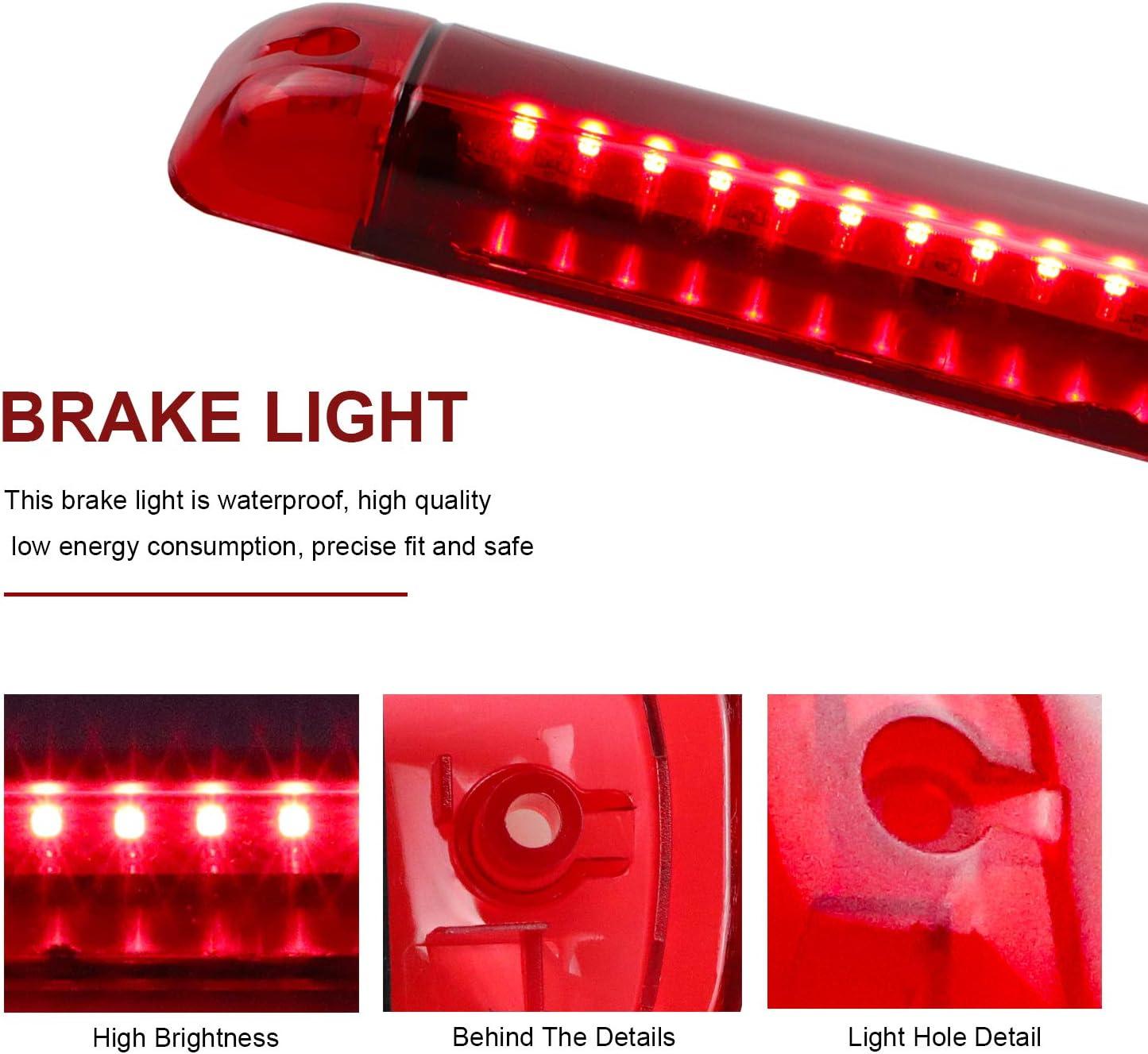 2003-2009 Hummer H2 Red Lens 1992-1999 Chevy Suburban/&GMC Yukon Center High Mount Stop Light Third Brake Light Lamp Cargo Lights for 95-2000 Tahoe