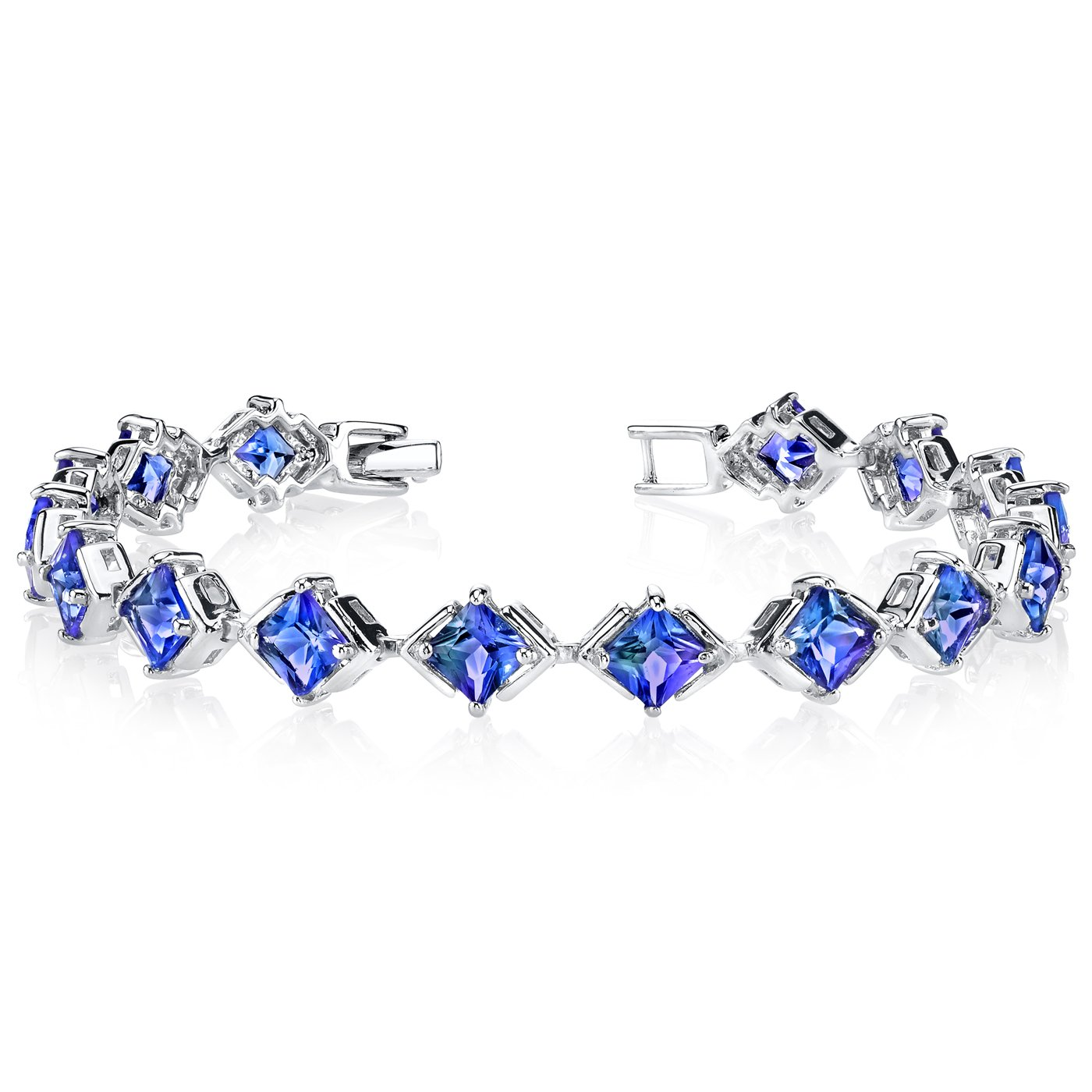 Simulated Alexandrite Bracelet Sterling Silver Princess Cut 12.00 Carats