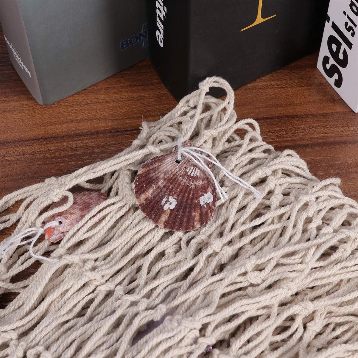 VOSAREA Filet d/écoratif pour Poissons Suspendu Nautique Filet d/écoratif avec d/écors de Coquillage Beige avec Flotteur de Coquillage