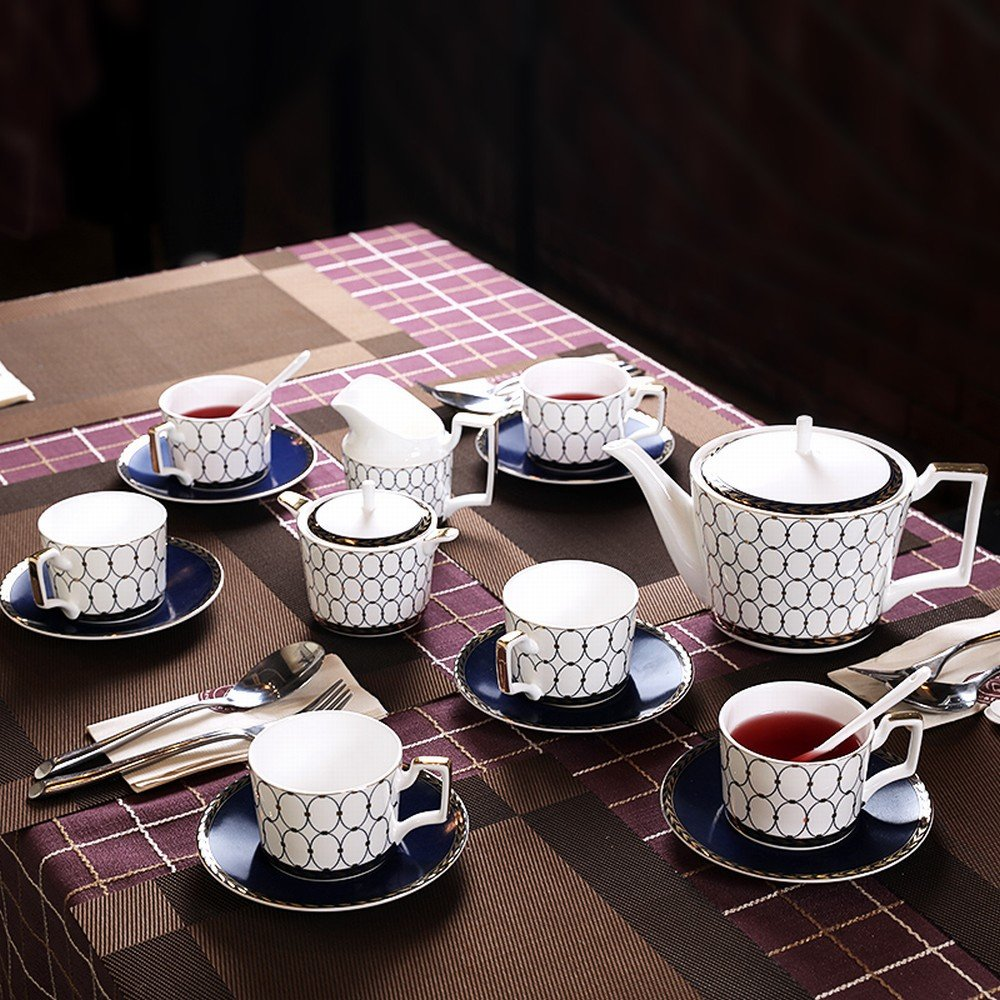 DHG English Bone China Coffee Cup Set Afternoon Tea Set Coffee Set Ceramic Home Continental Red Tea Cup Package,A by DHG