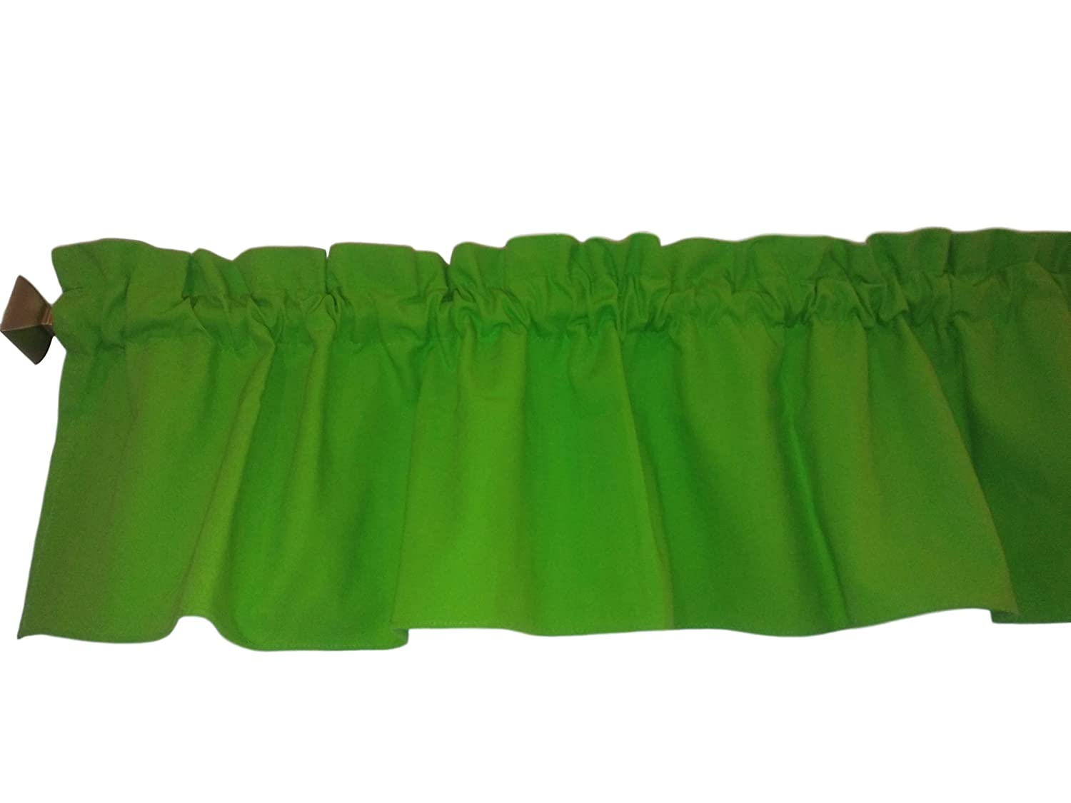 Ruffle Lime Green Valance Curtain Solid Color. Window treatment. Window Decor. Kitchen, classroom, Kids, wide 56