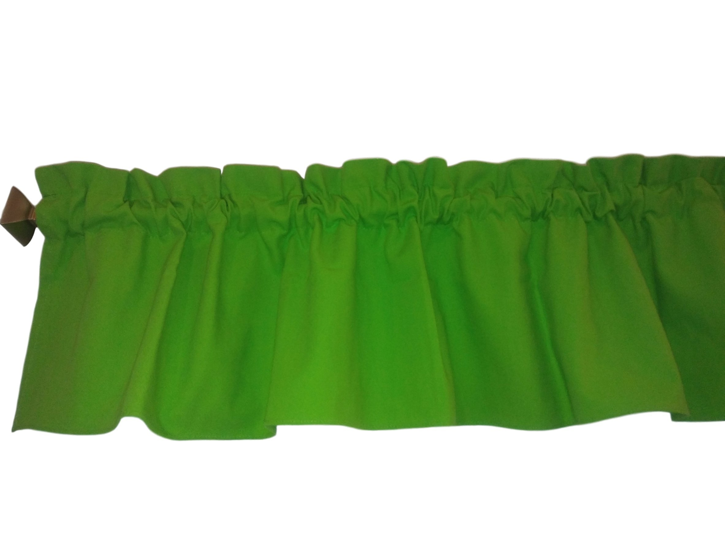 Ruffle Lime Green Valance Curtain Solid Color. Window treatment. Window Decor. Kitchen, classroom, Kids, wide 56'' fits standard curtain rod. Chartreuse,