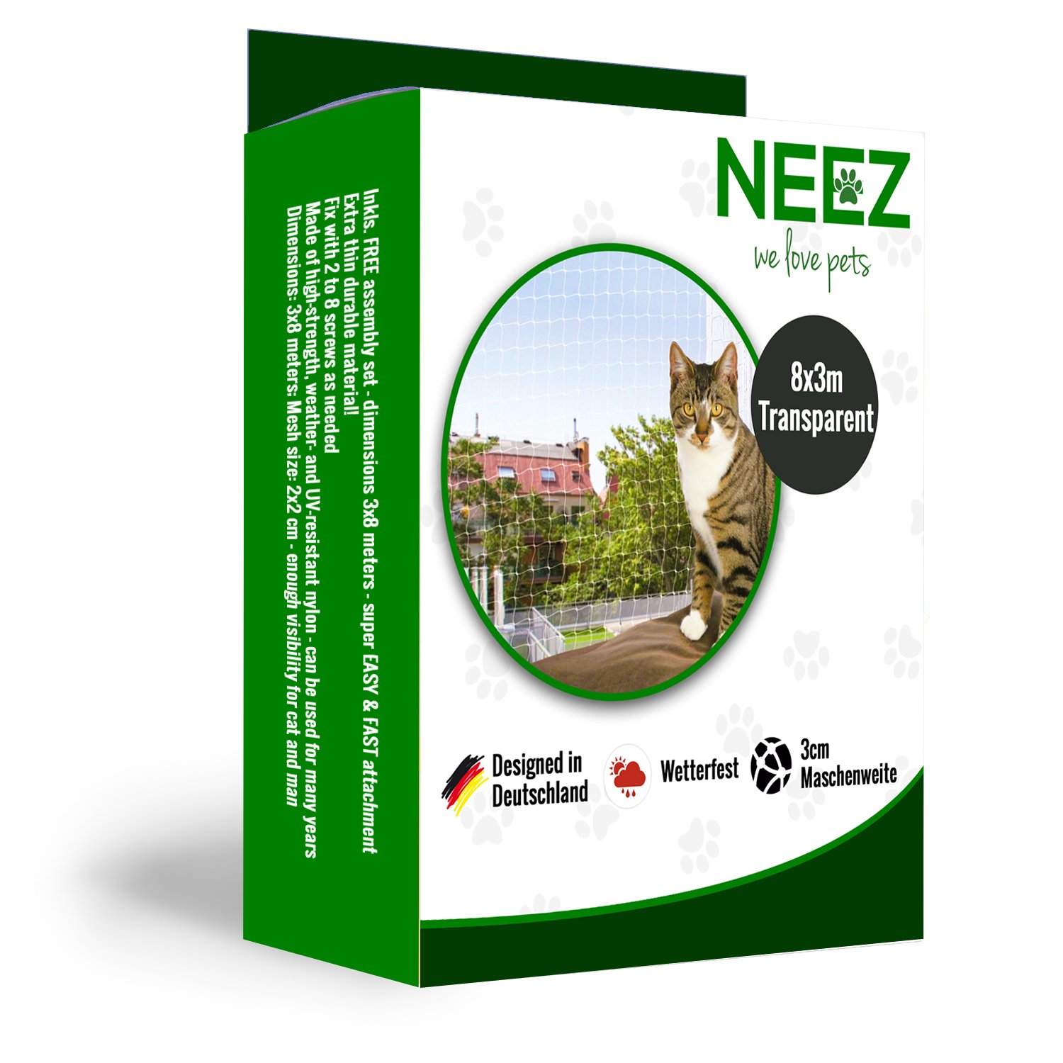 Filet de chat 3x8 mètres pour le balcon Filet de protection transparent pour le filet Pigeon net NEEZ