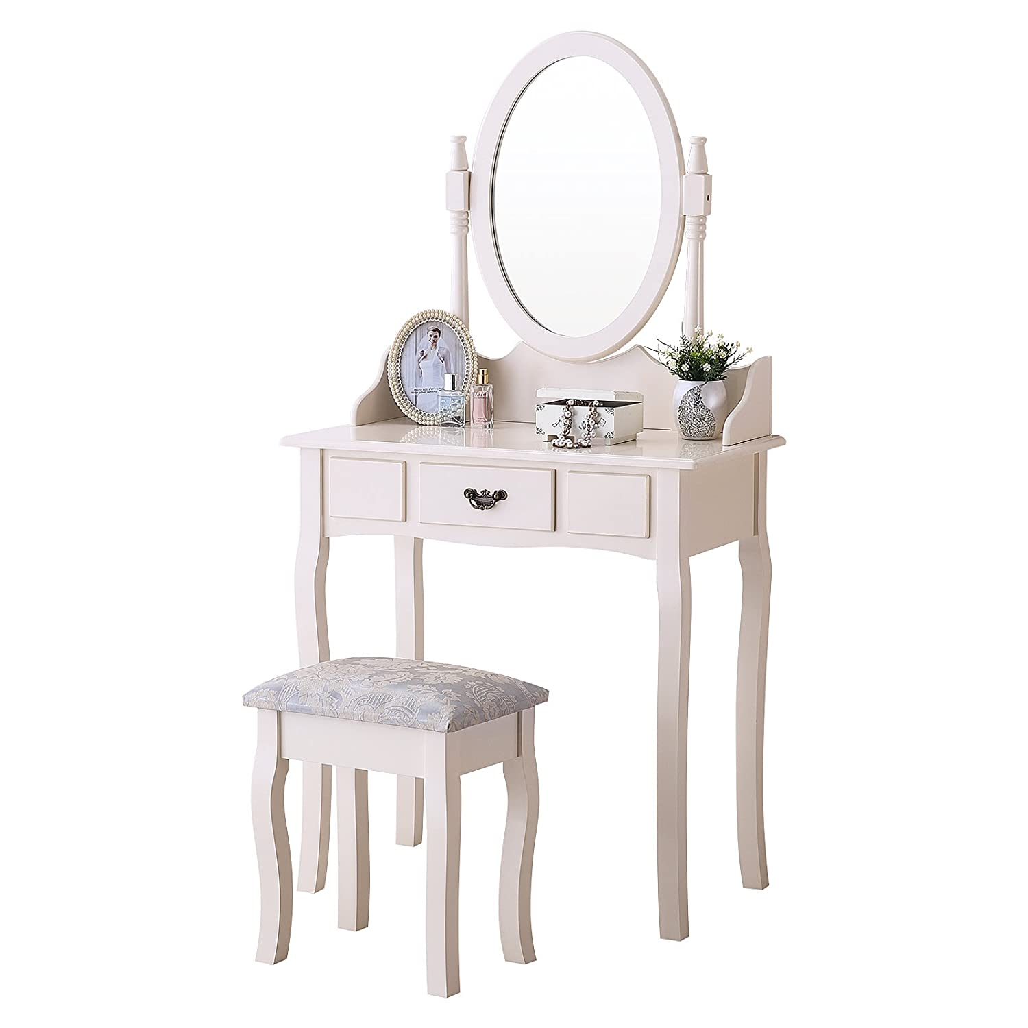 Amazon com mecor vanity makeup table set 4 strawers dressing table with stool ivory kitchen dining