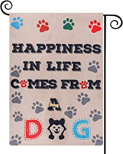 "HOMMIP Dog Paws Garden Flag,Spring Decorations for Home & Garden / HAPPINESS IN LIFE COMES FROM A DOG(13"" x 18"" Inch Double Sided)"