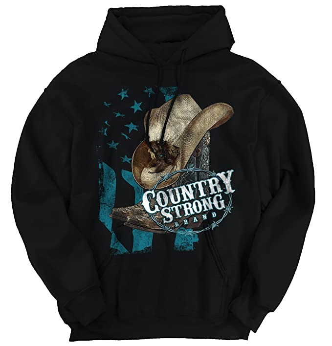 Brisco Brands Country Strong Hat Flag Patriotic Western Hoodie