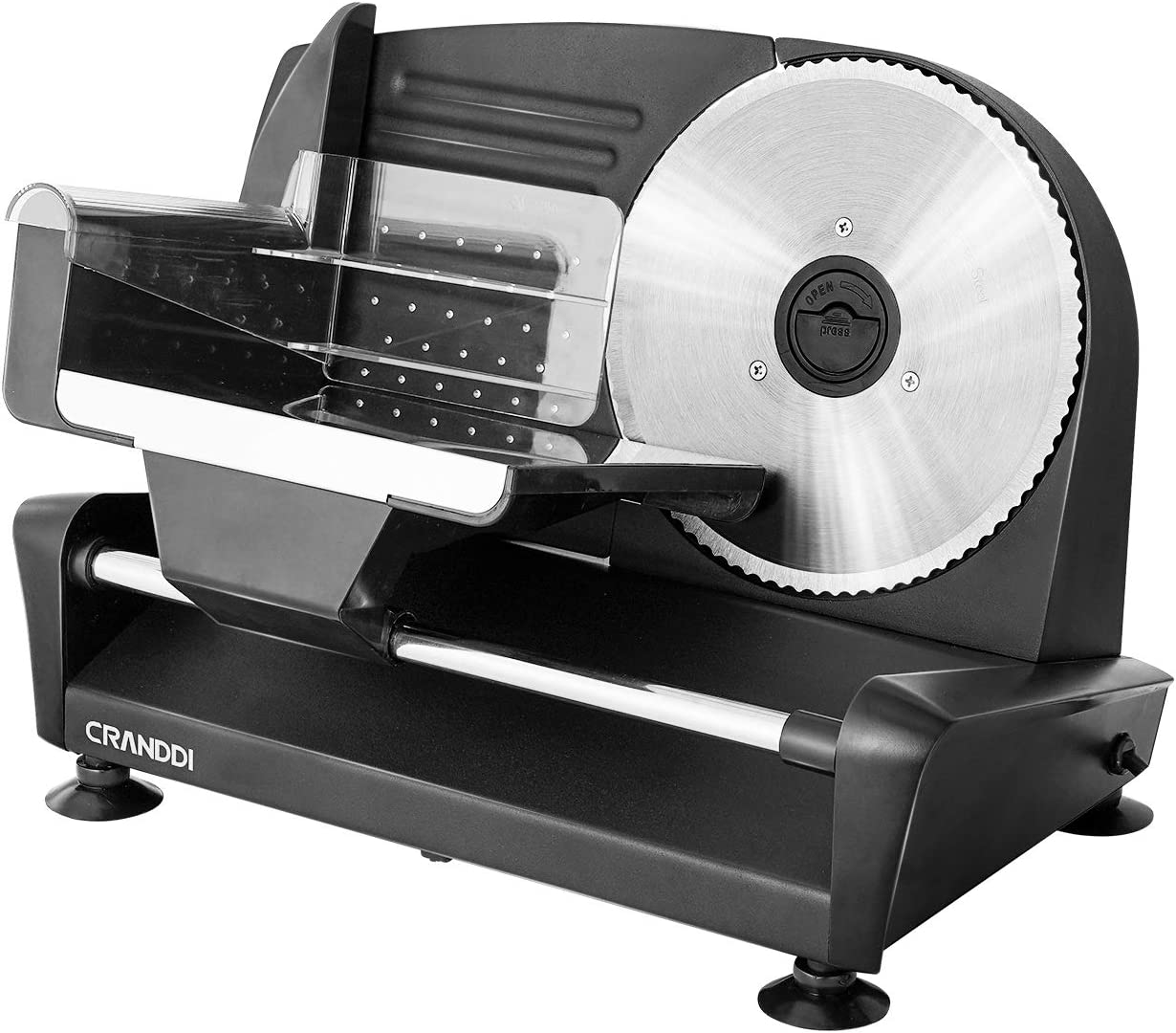Electric Deli Food Slicer, CRANDDI Meat Slicer with 7.5'' Stainless Steel Blade, Adjustable Thickness Knob Perfect for Deli Ham, Cheese, Bread, Food Pusher & Non-slip Feet, Slicer Machine for Home Use