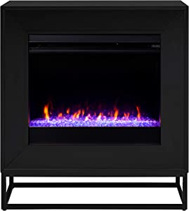 SEI Furniture Frescan Color Changing Electric Fireplace, Black