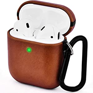 V-MORO Compatible with Airpods Case, Genuine Leather Airpod Case for Airpods 2 & 1 [Front LED Visible] Protective Cover Skin Brown