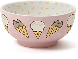 """Pusheen by Our Name is Mud Stoneware Ice Cream Snack Bowl, Pink, 2.625"""""""
