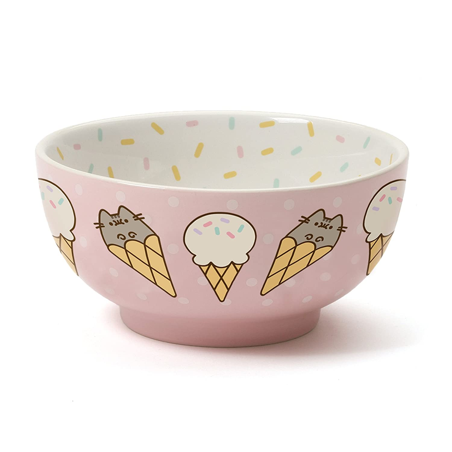 Pusheen by Our Name is Mud Stoneware Ice Cream Snack Bowl, Pink, 2.625