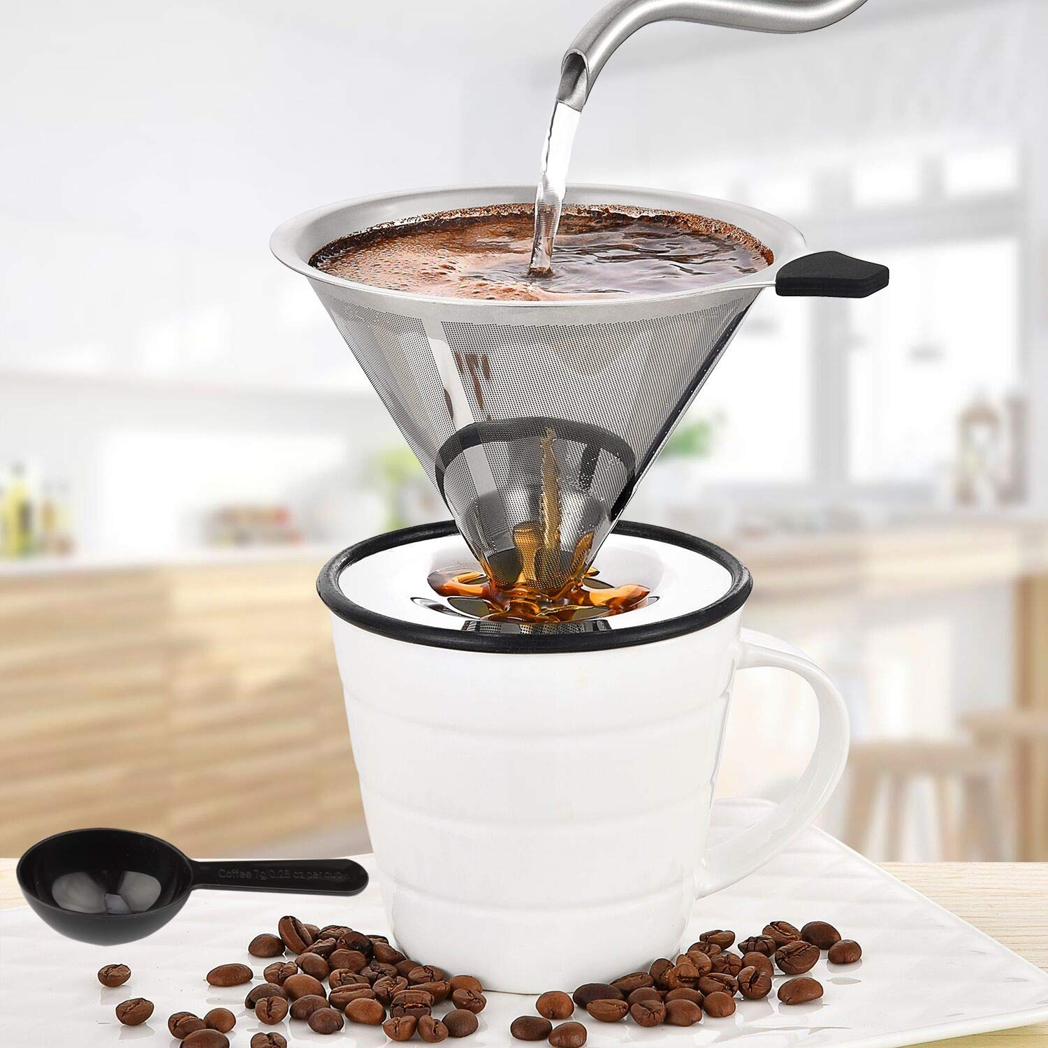 Magicaf/é Pour Over Coffee Dripper Stainless Steel Micro mesh Filter Fits Most Travel Mugs,Tea and Coffee Cups