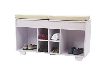 Fabulous Jeroal Split Top Cushioned Seating Storage Bench Organizing Upholstered Shoe Rack Entryway Storage 6 Cube Storage Organizer Bench White With Light Machost Co Dining Chair Design Ideas Machostcouk