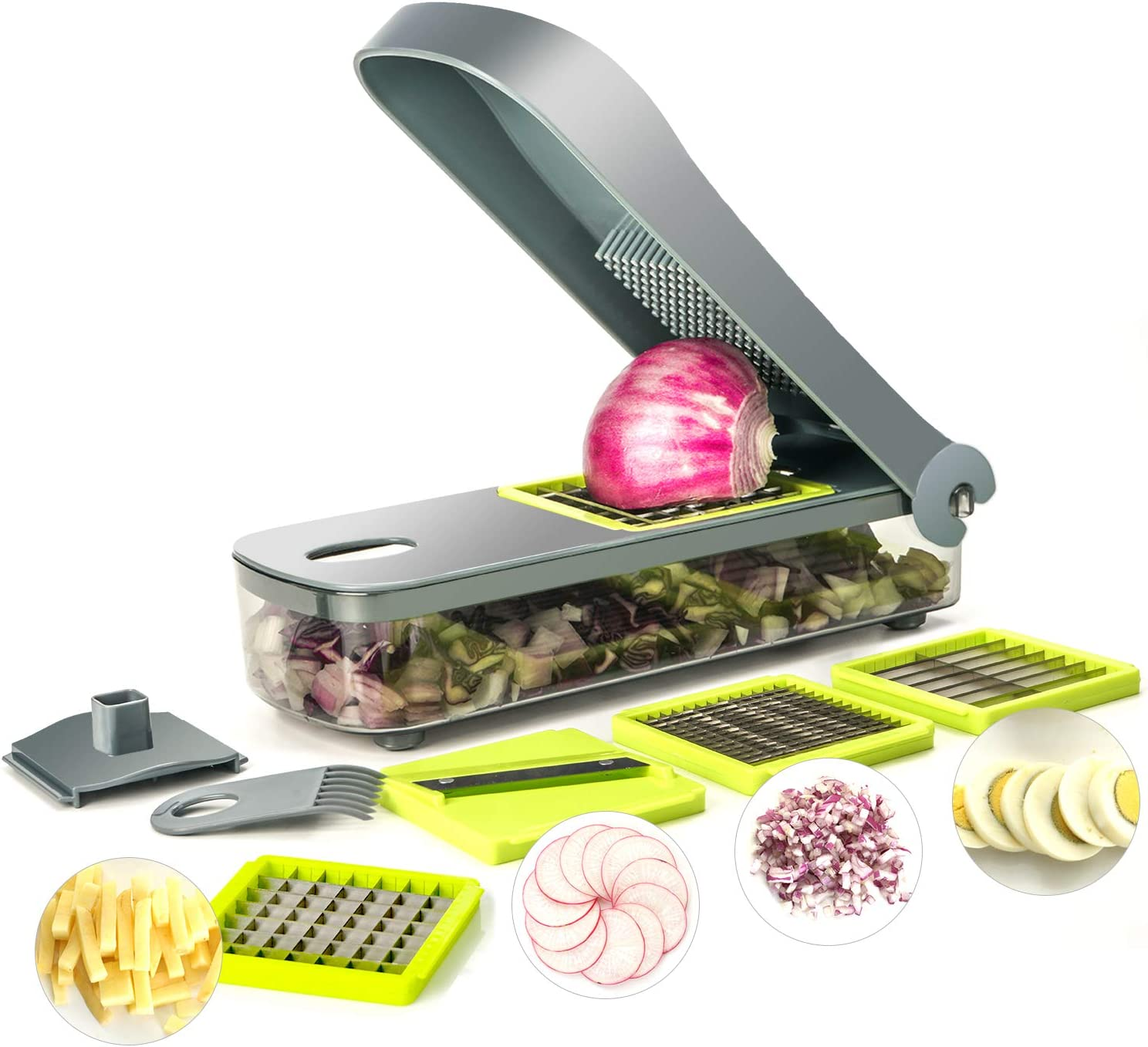 kalokelvin 4 in 1 Vegetable Food Onion Chopper Mandoline Slicer Large Containe -4 Cup