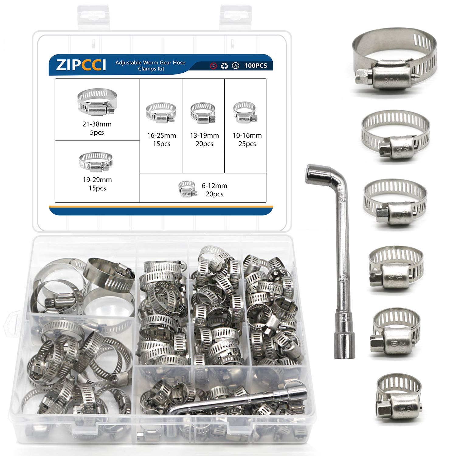 101 Pcs Hose Clamps Stainless Steel, Worm Gear Hose Clamp Assortment Kit Adjustable 6-38mm Range, Pipe Clamp for Water Tube, Automotive and Marine with Socket Wrench (1/4 to 1-1/2 inches)