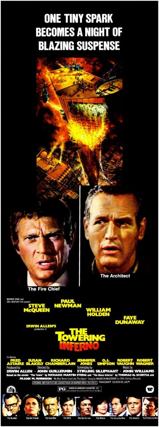 The Towering Inferno Movie Poster (14 x 36 Inches - 36cm x 92cm) (1974) Insert -(Steve McQueen)(Paul Newman)(William Holden)(Faye Dunaway)(Fred Astaire)(Jennifer Jones)