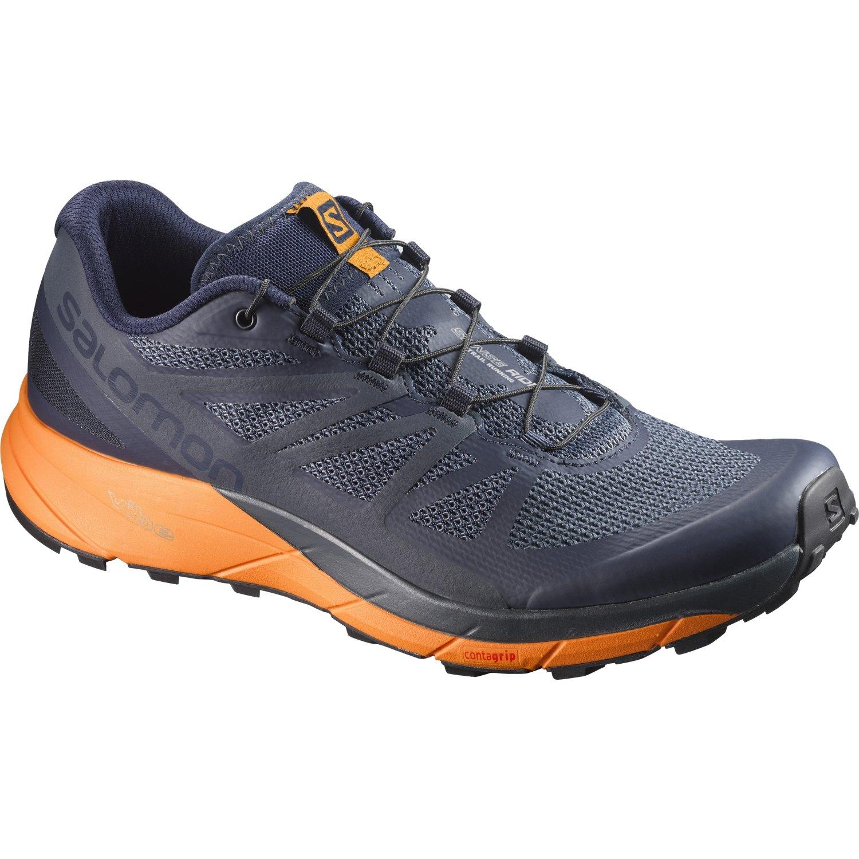 Salomon Sense Ride Trail Running Shoe - Men's Navy Blazer/Bright Marigold/Ombre Blue 9.5
