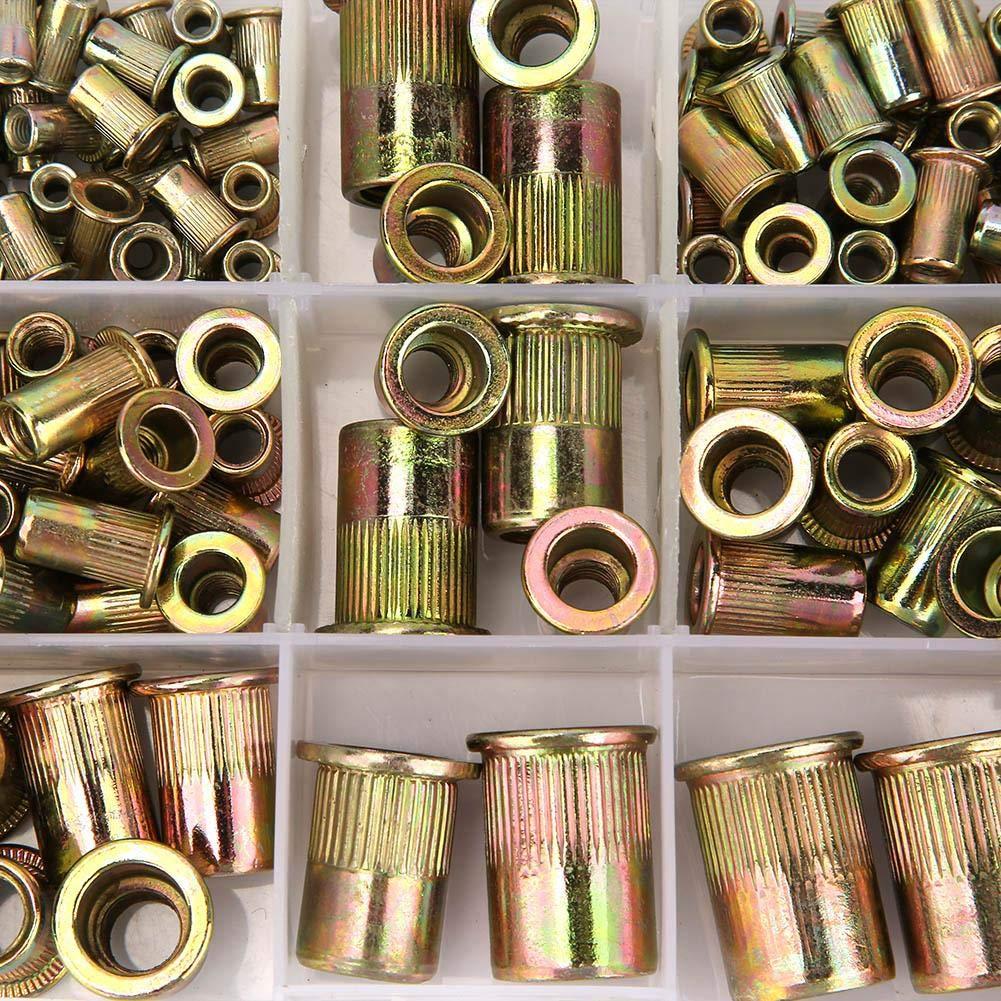 165pcs M3-M12 Tuerca de inserci/ón roscada Juego de tuercas de remache de acero al carbono chapado en zinc