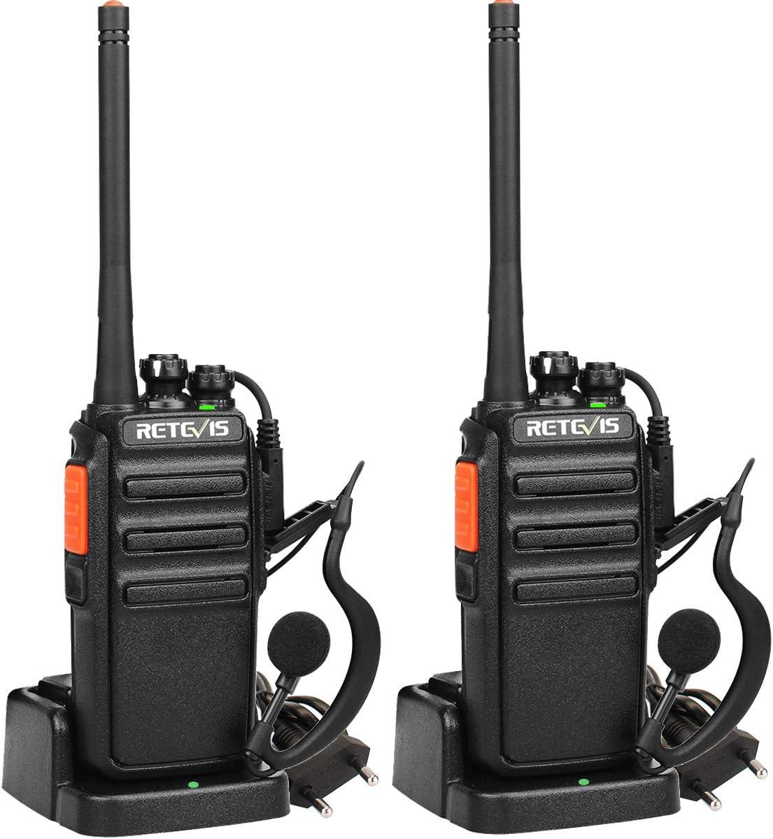 Retevis RT24 Walkie Talkie Recargable PMR446 sin Licencia 16 Canales CTCSS DCS Walkie Talkie Profesionales con Auriculares y Cargador Europeo Walkie Talkie Largo Alcance (Negro, 1 Par)