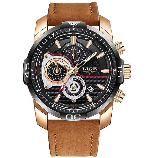 LIGE Relojes Hombre Militar Deportes Impermeable Analógico Cuarzo Relojes Hombre Ocio Cronógrafo Marron Cuero Fecha Reloj: Amazon.es: Relojes