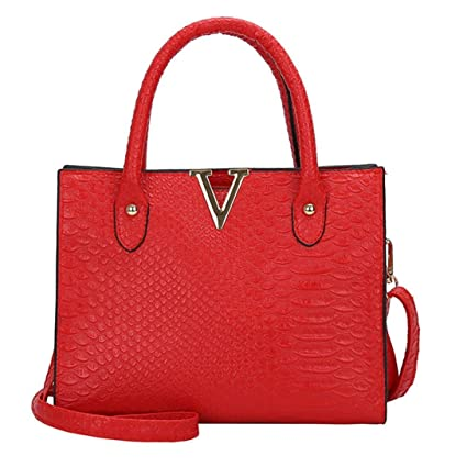 87f3c1bc821e ChainSee Alligator Pattern Leather Messenger Crossbody Satchel Tote Handbag  Shoulder Bag for Women Girl (Red)