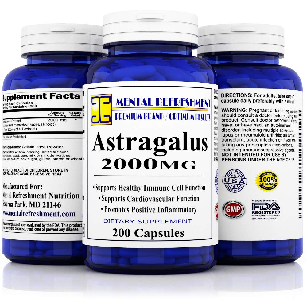Pure Astragalus 2000mg Per Caps 200 Capsules Best Value, Max Strength, All Natural - Supports Cardiovascular Health, Boosts Immune Function, Improves Inflammatory Response