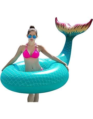 Jasonwell Cola de Sirena Hinchable colchonetas Tubo de Piscina Flotador Gigante de 120cm Veraniego Inflable Juguete