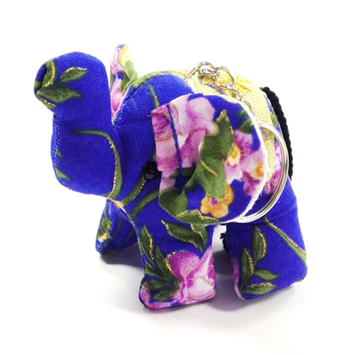 Wrapables Handmade Thai Elephant Keychain, Blue