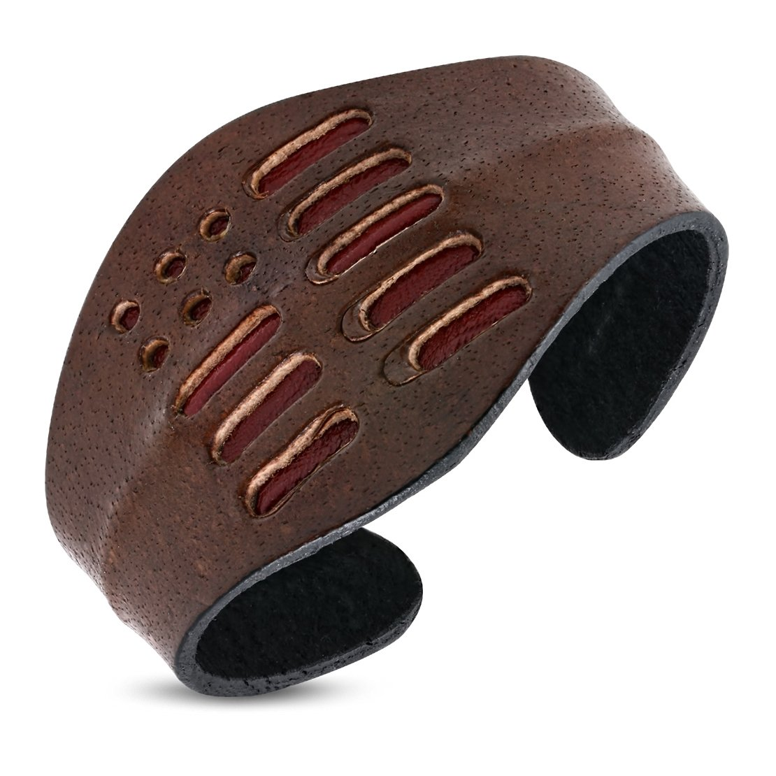 6.8 Genuine Brown Leather Geometric Diagonal Cuff Bangle Length