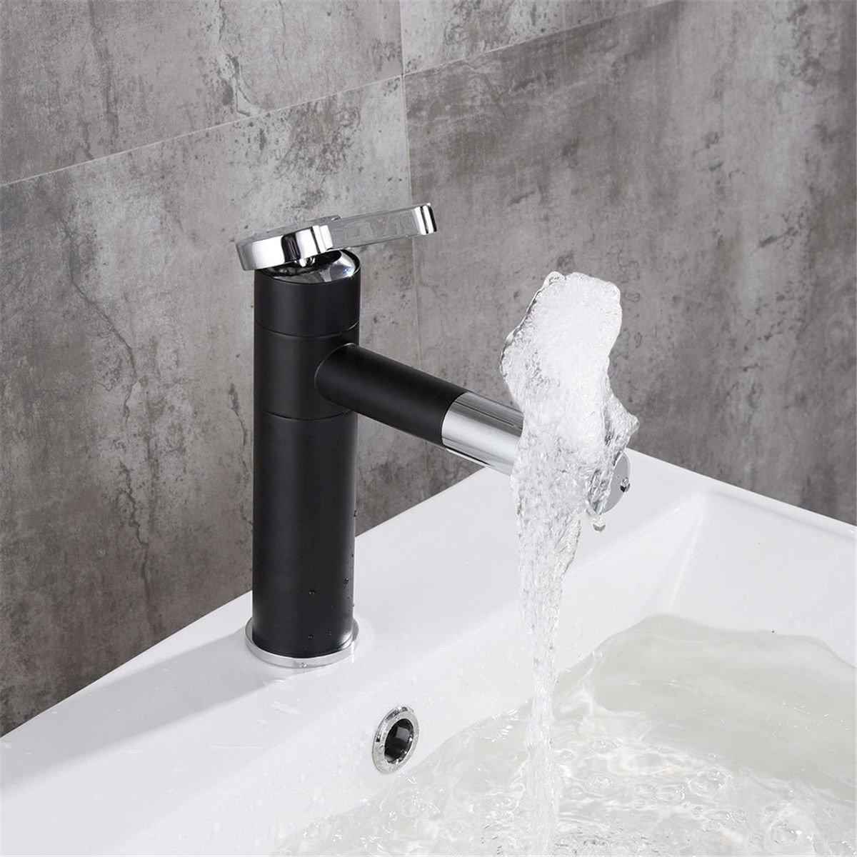 AQiMM Waschtischarmatur Wasserhahn Waschbecken Schwarz Ziehen Kaltes Wasser Maßstäblichen Messinggehäuse  Badezimmer Mischbatterie