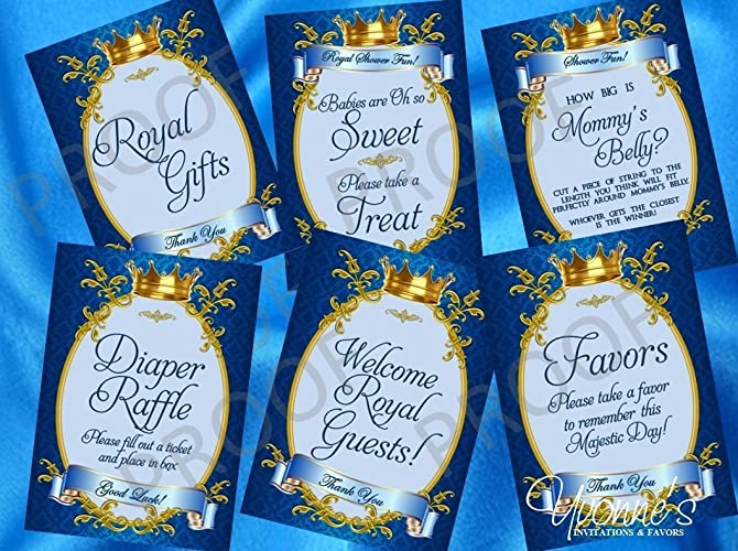 Amazoncom Royal Baby Boy Little Prince Party Signs Dessert Table