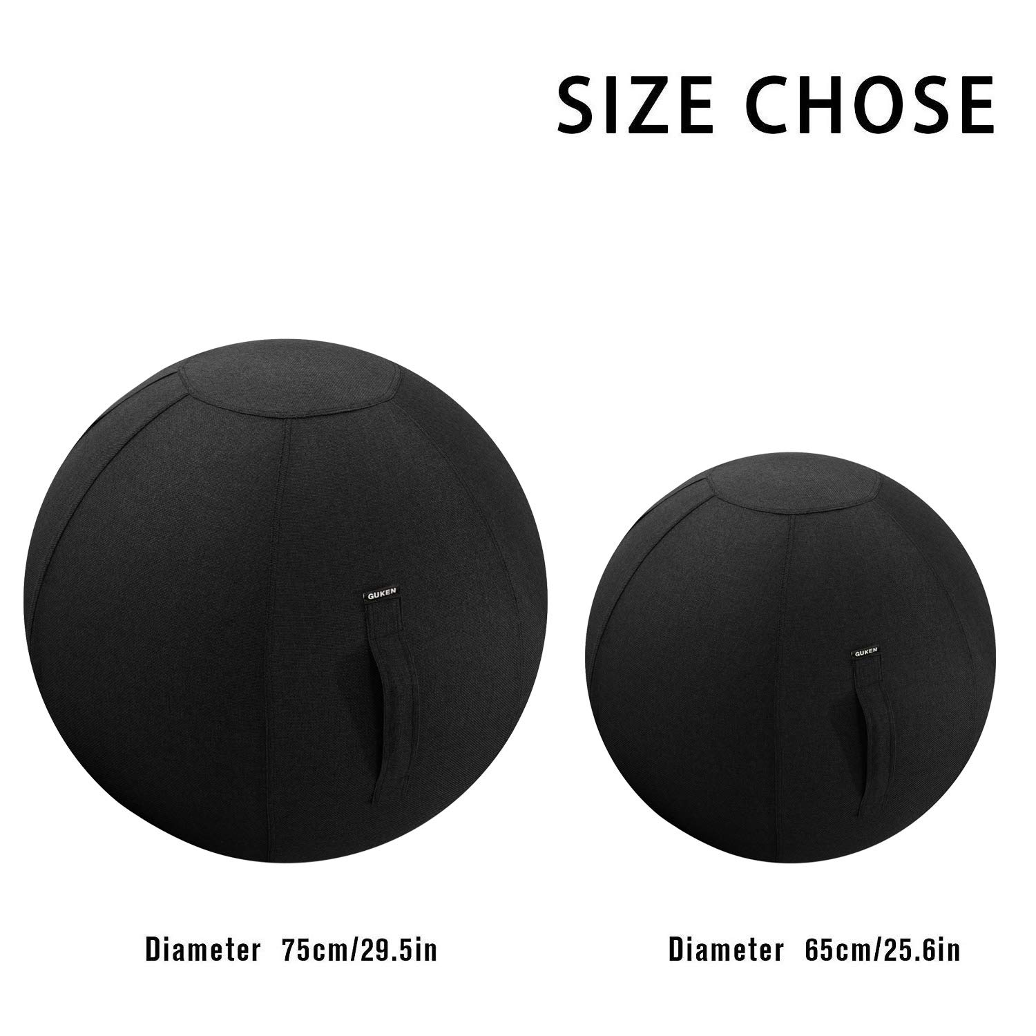 Guken Sitting Ball Chair with Cover, Exercise Yoga Ball for Office and Home Muscle Training Fitness, Stability Ball with Pump and Handle (Black, 65cm) by Guken