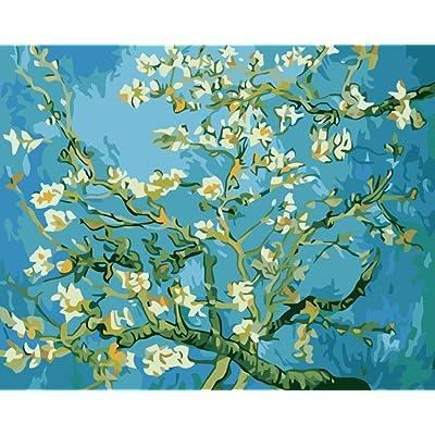 Bricolaje decoración del hogar de la lona digital de la pintura al óleo de los kits del número mundial de petróleo famosa pintura del flor del albaricoque por Van Gogh 16 * 20 pulgadas.: Hogar
