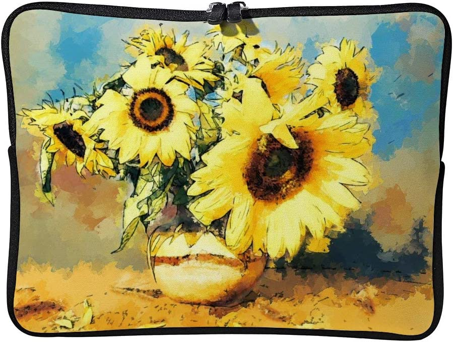Laptop Sleeve Bag Notebook Computer PC Neoprene Protection Zipper Case Cover Pouch Carrier Holder Flowers Flora Bouquet Still Life Sunflower Yellow color7 17inch
