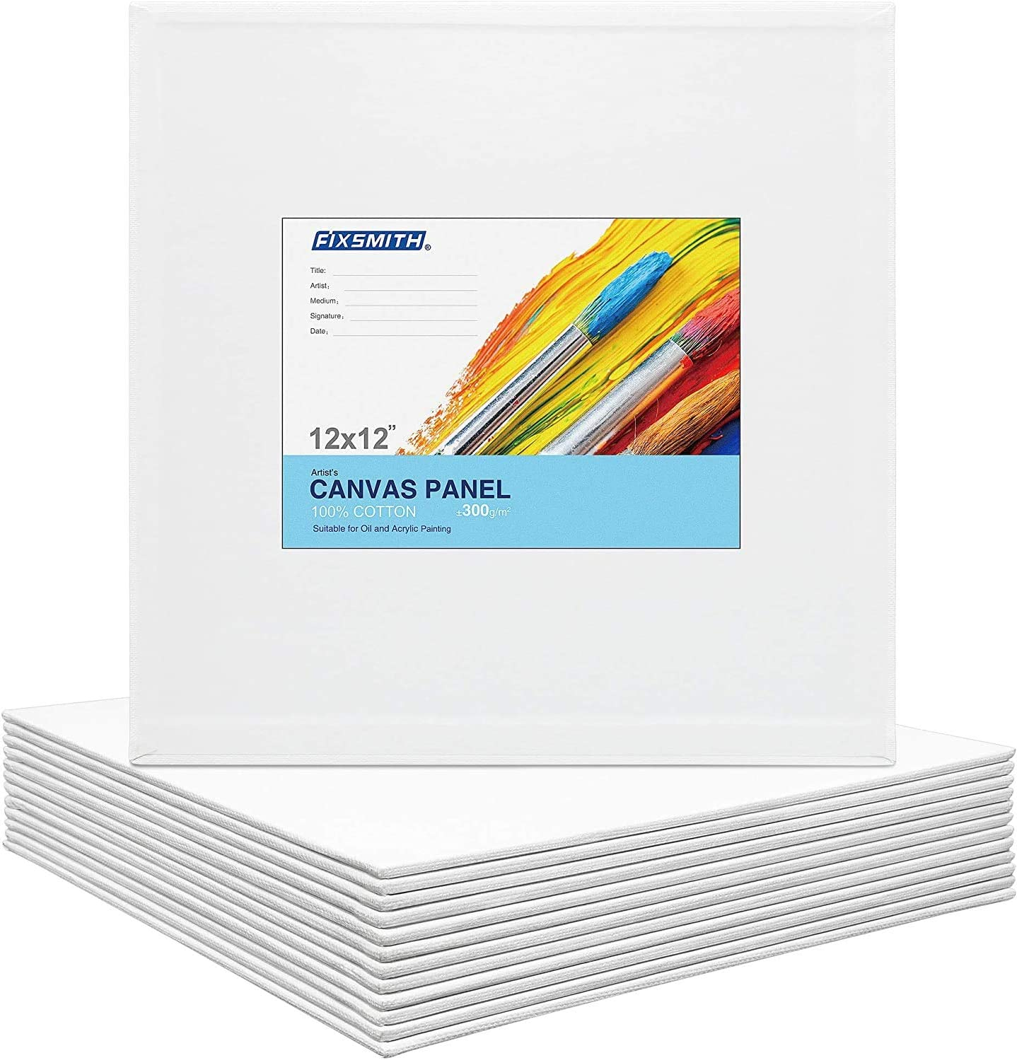 FIXSMITH Painting Canvas Panels 12x12 inch Professional Quality Canvas Painter Paper Boards,Super Value 12 Pack,100/% Cotton,Back to School,Primed,Acid Free,Suitable for Professionals,Artists,Beginners,Hobby Painters,Students /& Kids