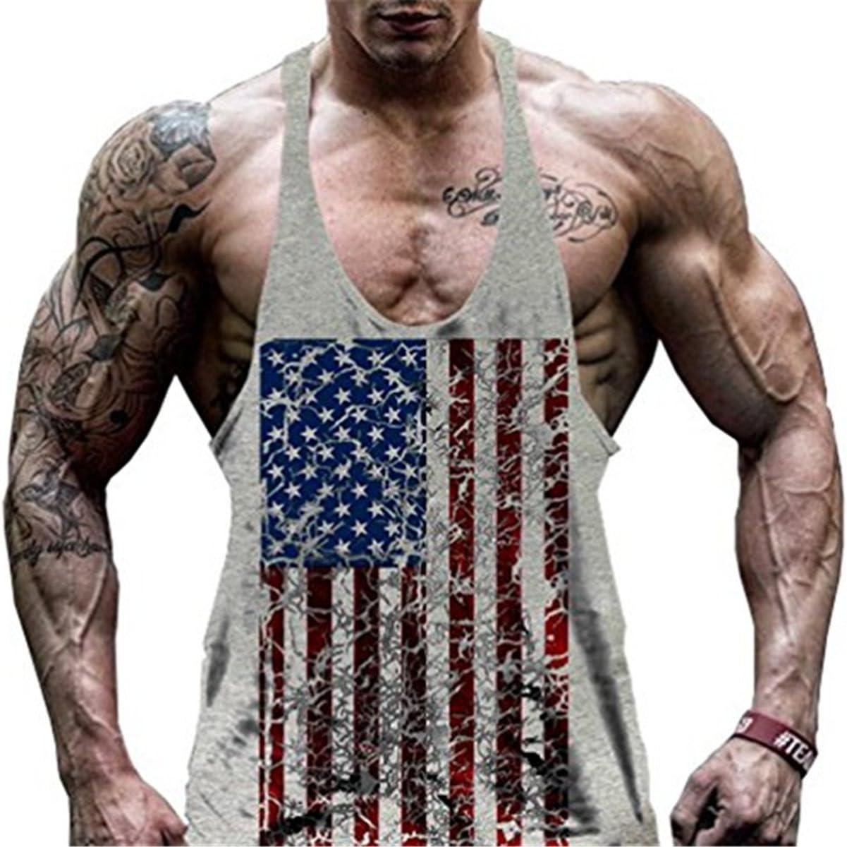 Faith Wings Hombre Fitness Gym muscular absorbente Chaleco Bodybuilding Bandera de Estados Unidos Stringer Tank Top s/ólida Sport Vest