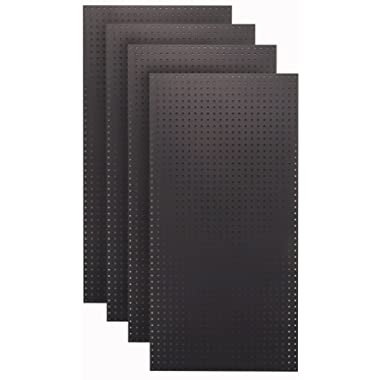 Tempered Wood Pegboard TPB-4BK 24-Inch W x 48-Inch H x 1/4-Inch D Custom Painted Heavy Duty Round Hole Pegboards, Jet Black