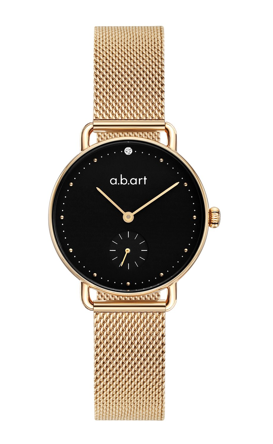 abart Watch FR31-015-7S Rose Gold Sapphire Crystal Black Dial Mesh Band Women Bracelet Watches (Rose Gold Black)