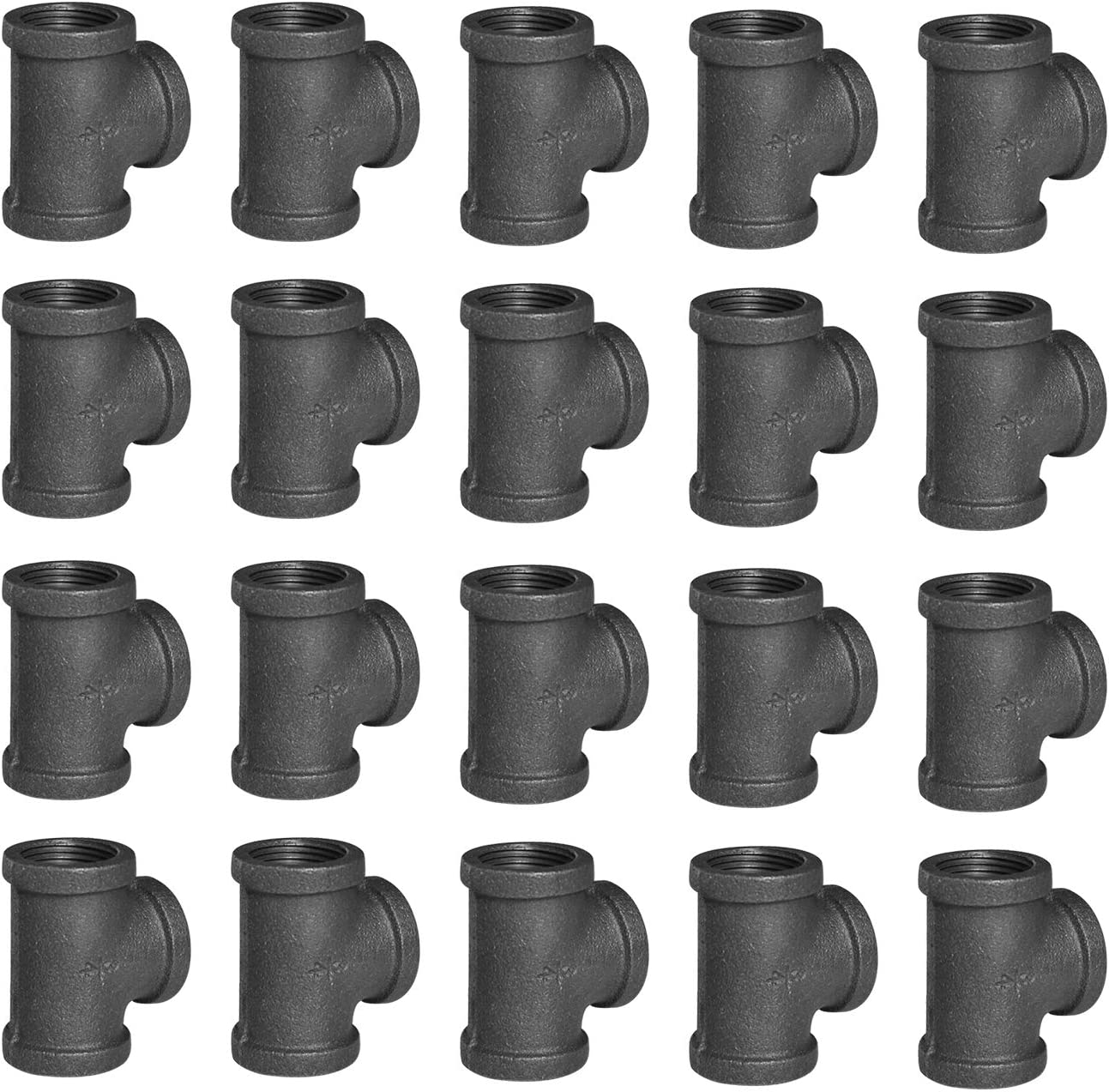 """1/2"""" Pipe Fitting Tee DN15 Threaded Cast Black Malleable Iron for Steampunk Vintage Shelf Bracket DIY Plumbing Pipe Decor Furniture (20, 1/2"""")"""