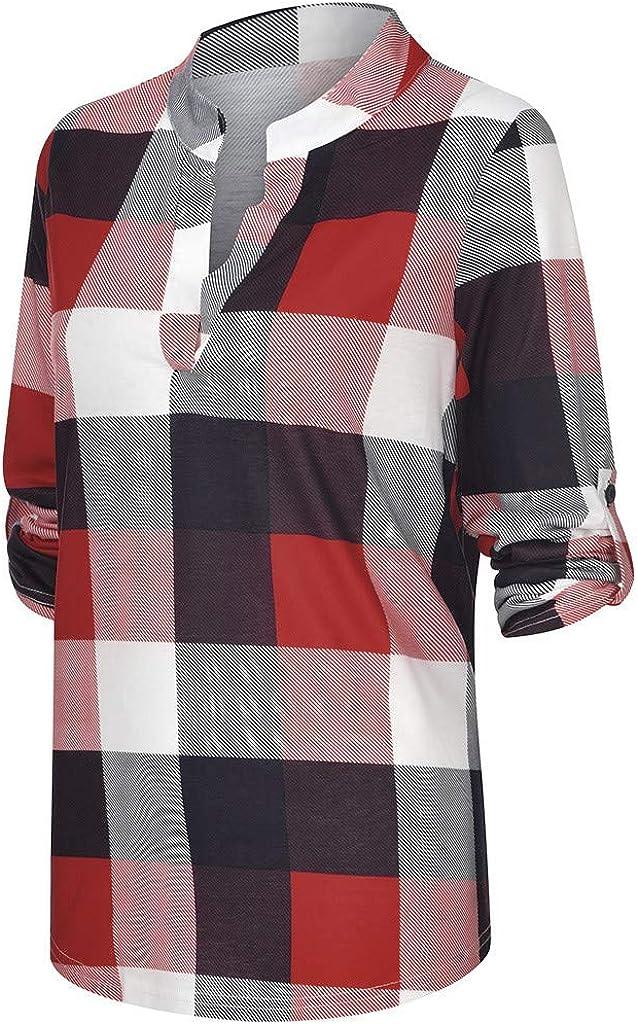VECDY Roll Up Camisa para Mujer Bot/ón De Manga Larga con Cuello En V Camisa Simple A Cuadros Informal Camisa Estampada Top