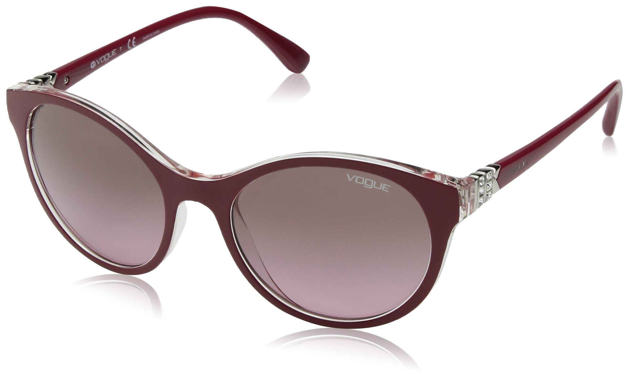 Ray-Ban Women's Plastic Woman Round Sunglasses, Top Dark Red/Serigraphy, 52 mm