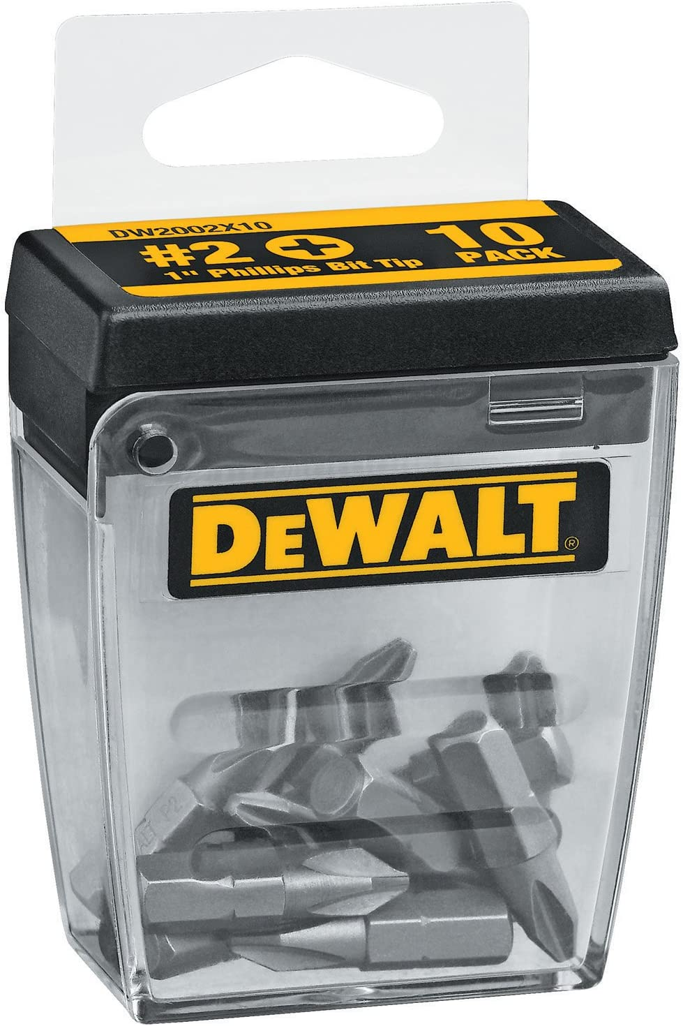 DEWALT DW2002X10 #2 Phillips 1-Inch Bit Tips with Bit Box (10-Pack)