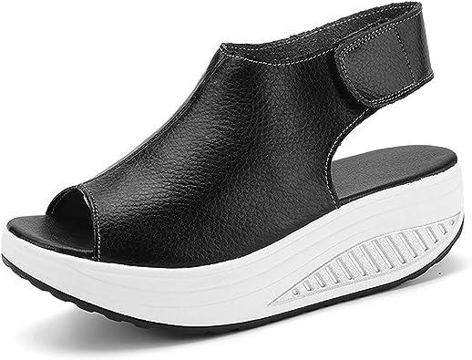 DAFENP Sandales Compensées Femme Été Sandales Plateforme Confort Cuir Chaussures Talon pour Marcher