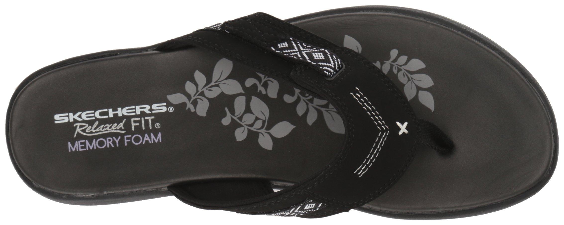 Skechers Modern Comfort Sandals Women's Upgrades Marina Bay Flip Flop Black/White, 8 M US by Skechers (Image #8)